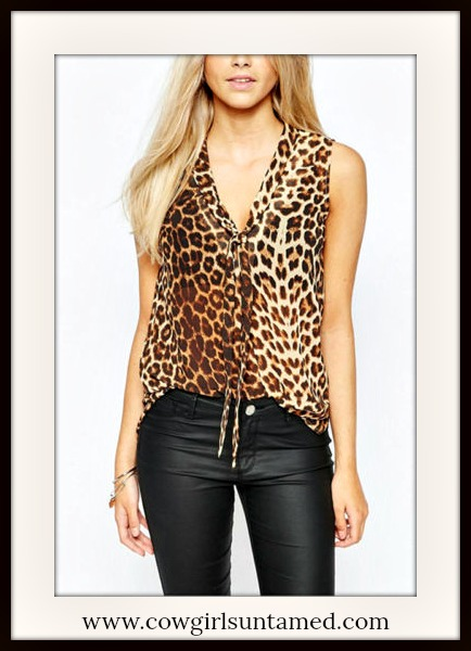 COWGIRLS ROCK TOP Brown Leopard Sleeveless Tie Neckline Top