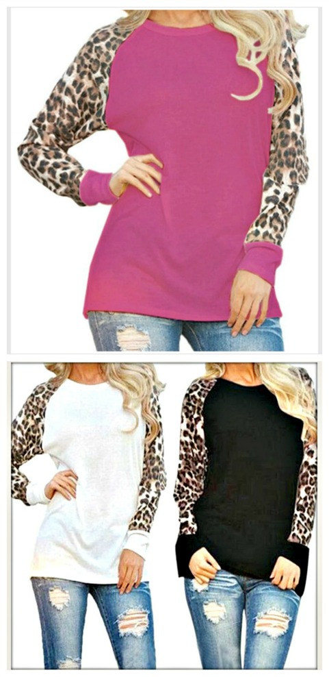 ON THE PROWL TOP Chiffon Leopard Long Sleeves Top  3 COLORS!