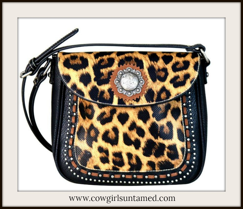 CLASSY COWGIRL CROSSBODY Silver Concho & Studded Leopard Print Leather Crossbody