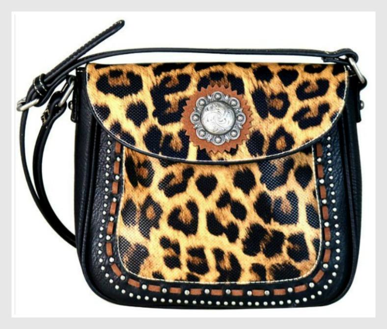 CLASSY COWGIRL CROSSBODY Silver Concho & Studded Leopard Print Leather Crossbody