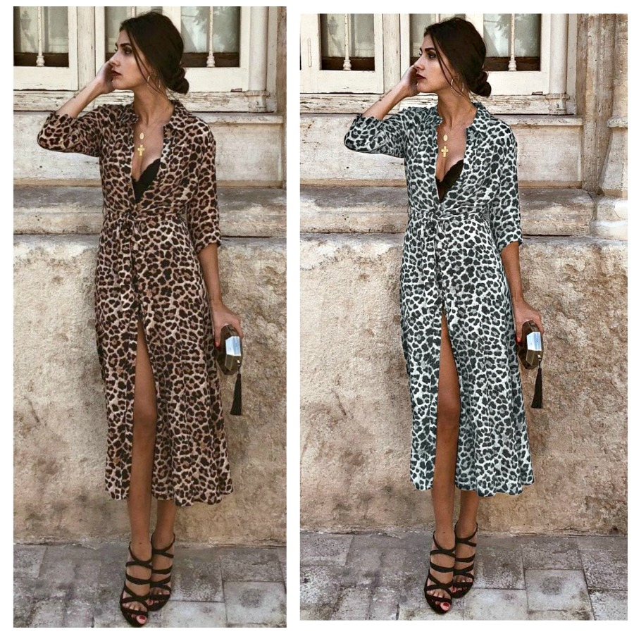 ON THE PROWL DRESS Leopard 3/4 Sleeve Midi Self Tie Dress  2 Colors!