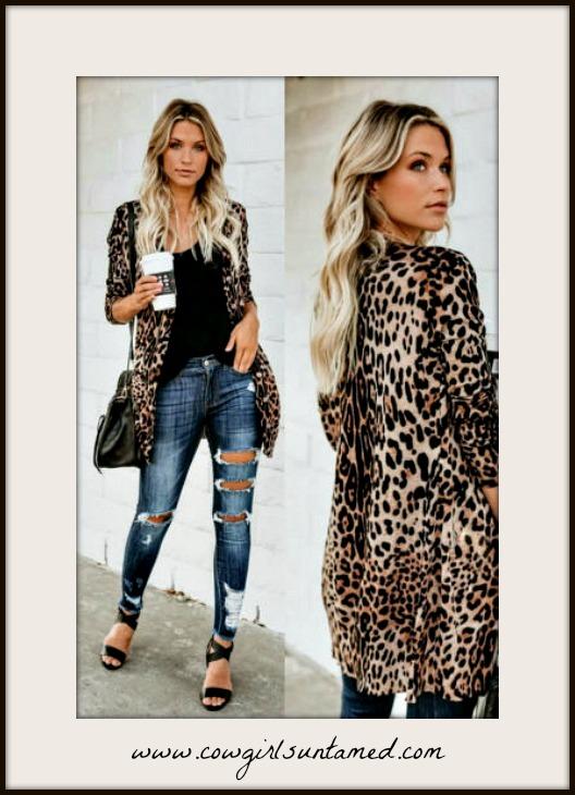 CLASSY COWGIRL CARDI Tan & Black Leopard Long Sleeve Button Front Cardigan