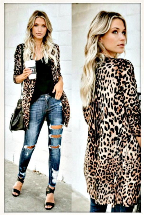 ON THE PROWL CARDI Tan & Black Leopard Long Sleeve Button Front Cardigan