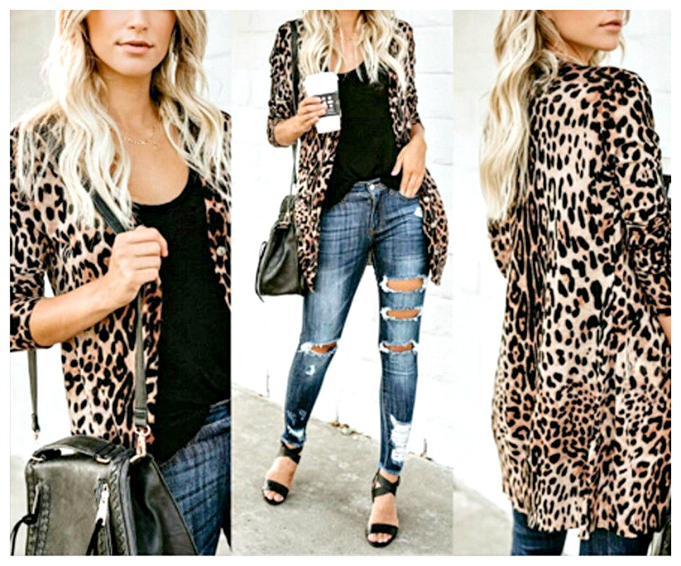 ON THE PROWL CARDI Tan Brown & Black Leopard Long Sleeve Button Front Cardigan ONLY 2 LEFT L & XL