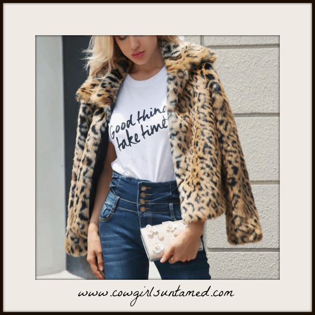 ON THE PROWL COAT Beautiful Brown & Black Faux Leopard Fur Open Front Coat  PLUS & MISSES