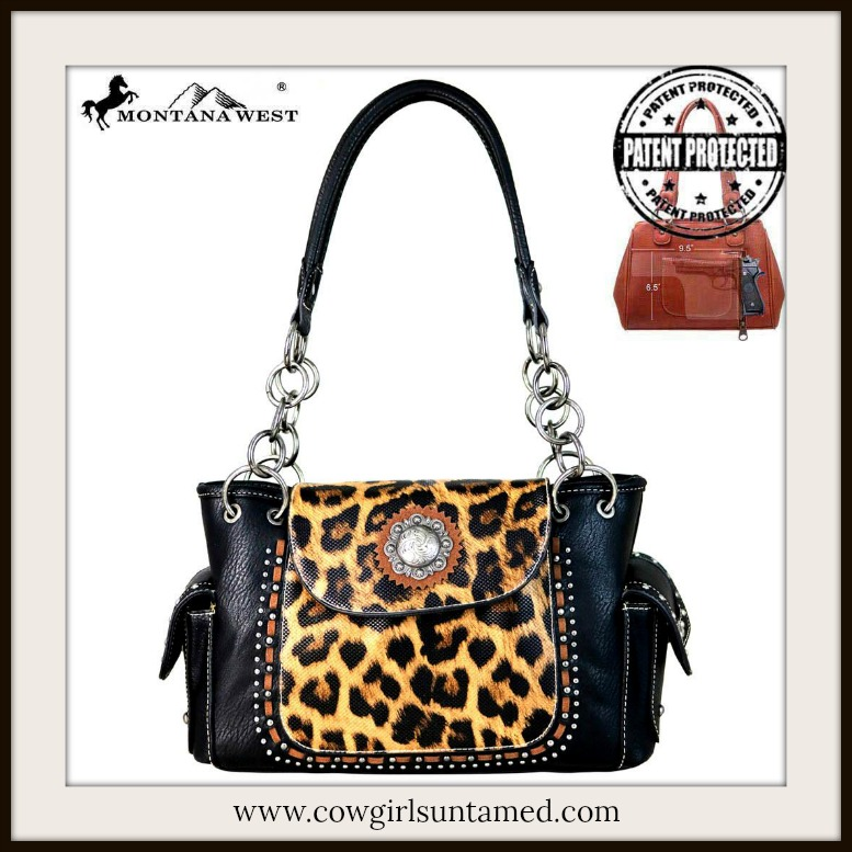CLASSY COWGIRL HANDBAG Silver Concho & Studded Leopard Print Leather Concealed Weapon Handbag