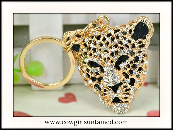 COWGIRL GLAM KEYCHAIN Black and Gold Crystal Leopard Head Key Ring