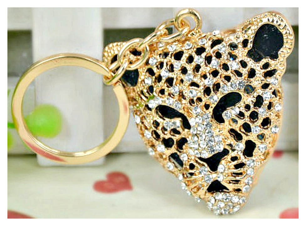 ON THE PROWL KEYCHAIN Black and Gold Crystal Leopard Head Key Ring