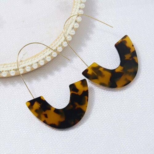 WILD REBEL EARRINGS Brown Leopard Tortoise Shell Acrylic Golden Hoop Earrings