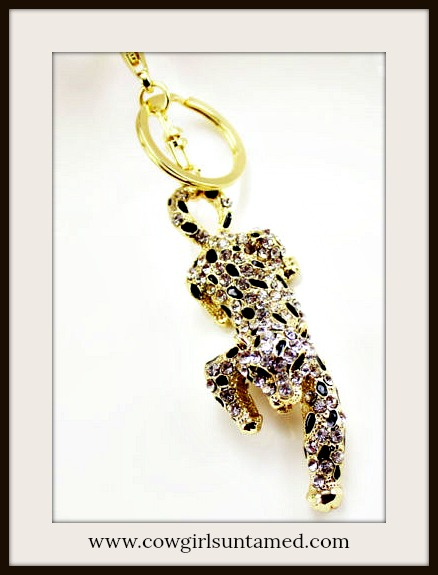 COWGIRL GLAM KEYCHAIN Hunting Black Enamel and Gold Crystal Leopard Key Ring