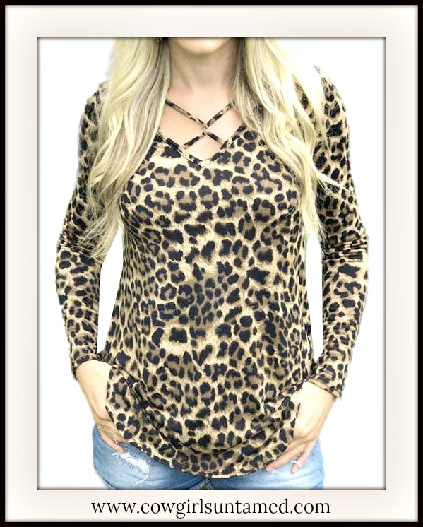 ON THE PROWL TOP Criss Cross Neckline Long Sleeve Brown Leopard Top