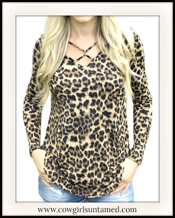 CLASSY COWGIRL TOP Criss Cross Neckline Long Sleeve Brown Leopard Top