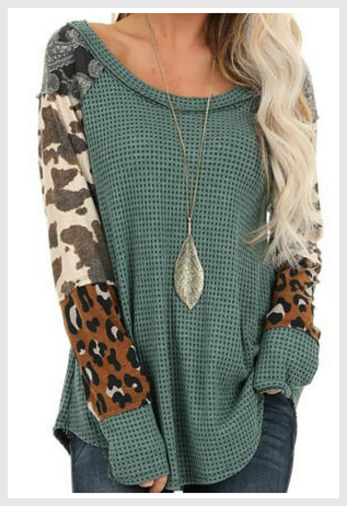 THE JAMIE TOP Mixed Pattern Brown Leopard Cow Black Bandanna Long Sleeve Olive Green Thermal Top Misses & Plus