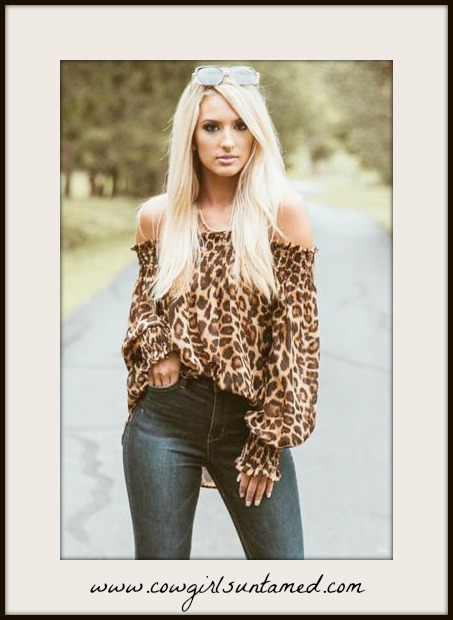 ON THE PROWL TOP Off the Shoulder Long Sleeve Leopard Top
