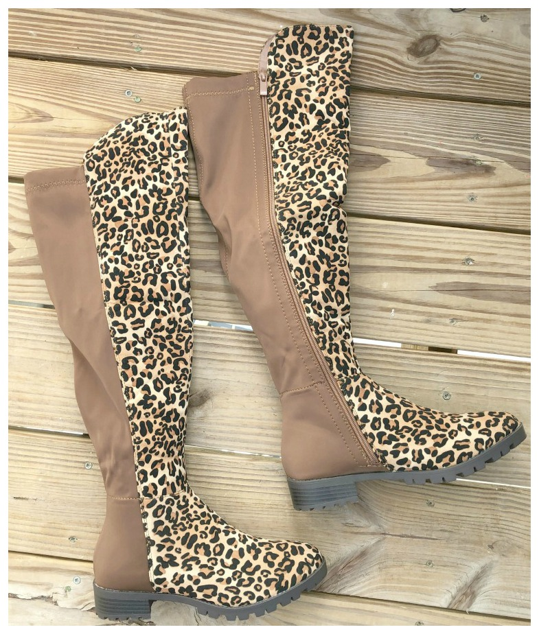 ON THE PROWL BOOTS Over Knee Zipper Stretchy Nylon Back Brown Leopard Boots
