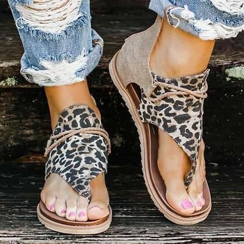 INTO THE WILD SANDALS Black Brown Grey Leopard Animal Print Boho Summer Sandals Sizes 7-10 2 COLORS