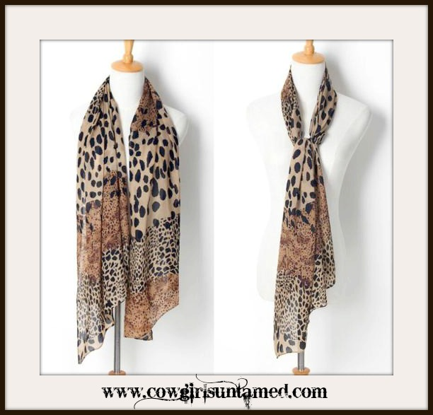 CLASSY COWGIRL SCARF Brown Beige and Black Mixed Pattern Chiffon Leopard Scarf