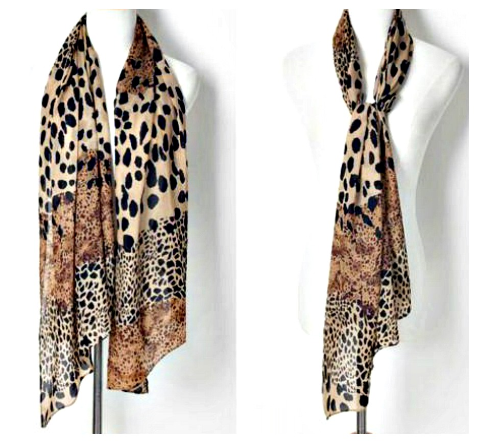 ON THE PROWL SCARF Brown Beige and Black Mixed Pattern Chiffon Leopard Scarf