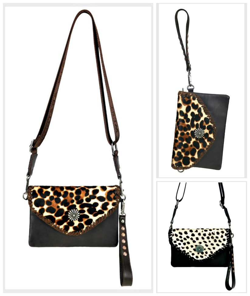 ON THE PROWL CROSSBODY CLUTCH Montana West Genuine Leather Leopard Hair on Hide Crossbody Clutch Bag Purse 2 COLORS