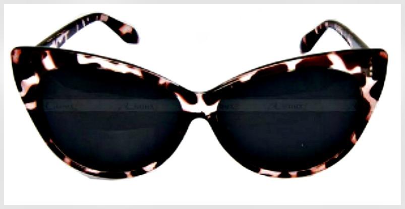 ON THE PROWL SUNGLASSES Black & Brown Leopard Retro Cat Eye Sunglasses
