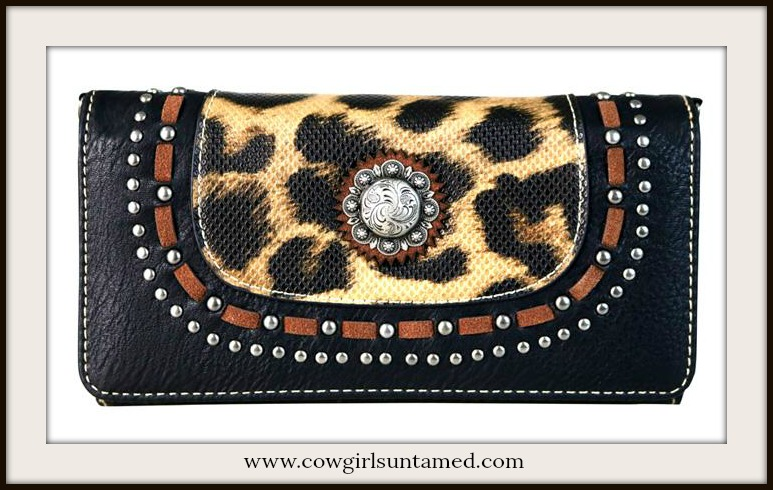 CLASSY COWGIRL WALLET Silver Concho & Studded Leopard Print Leather Wallet/Crossbody