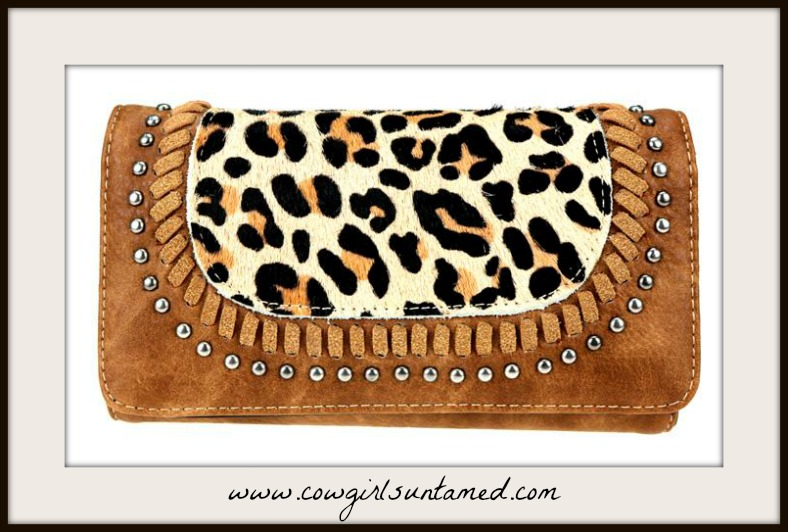 ON THE PROWL WALLET Studded Faux Leopard Fur Leather Wallet