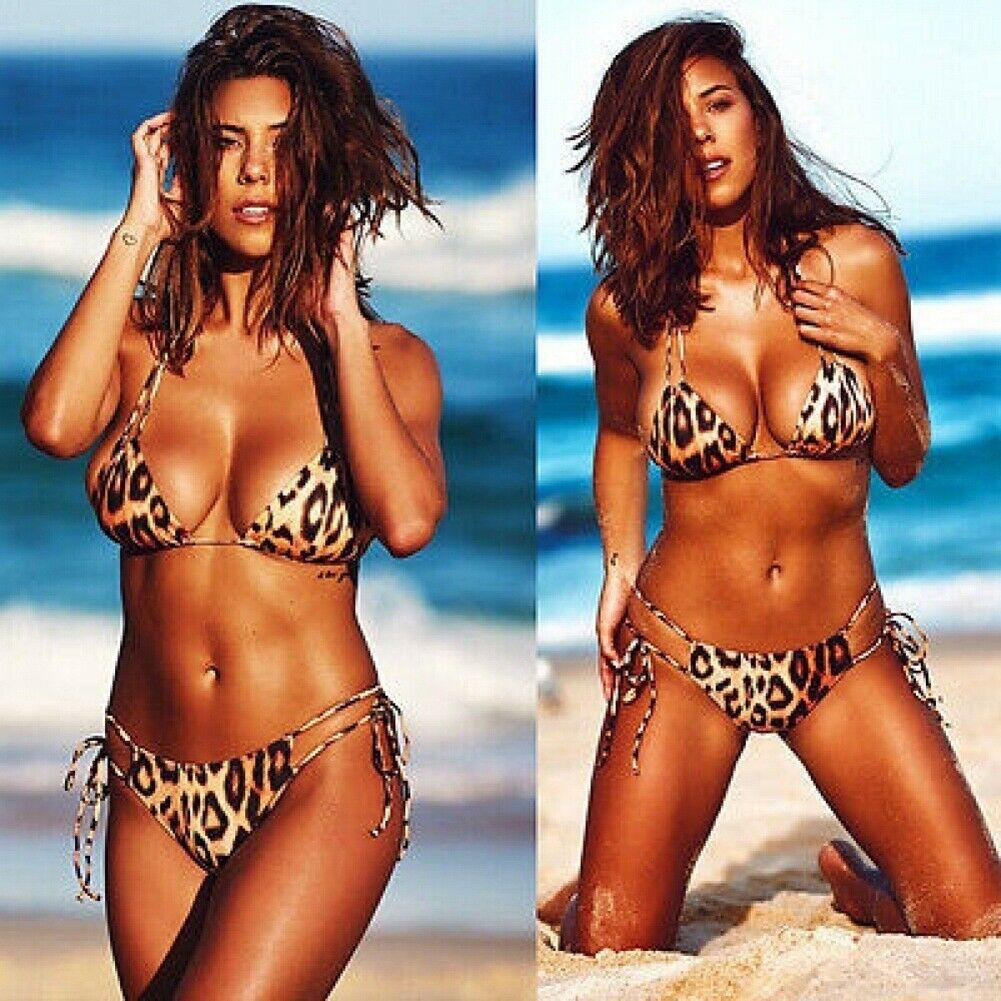 GET WILD SET Brown Black Leopard Animal Print Unlined Bikini Lingerie Set  S-3XL