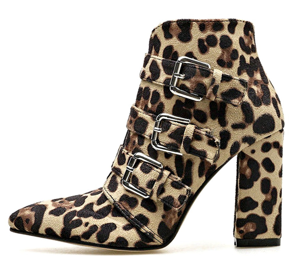ON THE PROWL BOOTS Silver Buckle Leopard Heel Ankle Boots