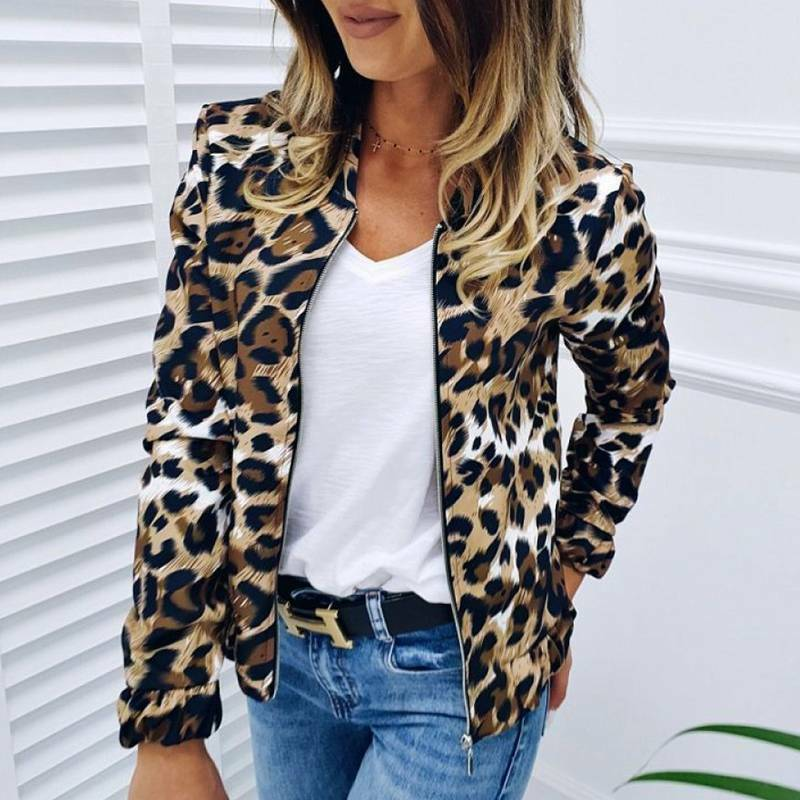 ON THE PROWL COAT Khaki Brown White & Black Leopard Zip Front Bomber Jacket S-XL