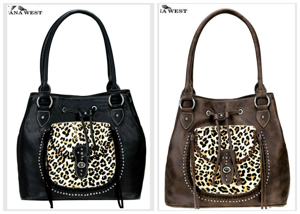 MONTANA WEST HANDBAG Leopard & Faux Leather Drawstring Studded Western Cowgirl Purse Tote 2 COLORS
