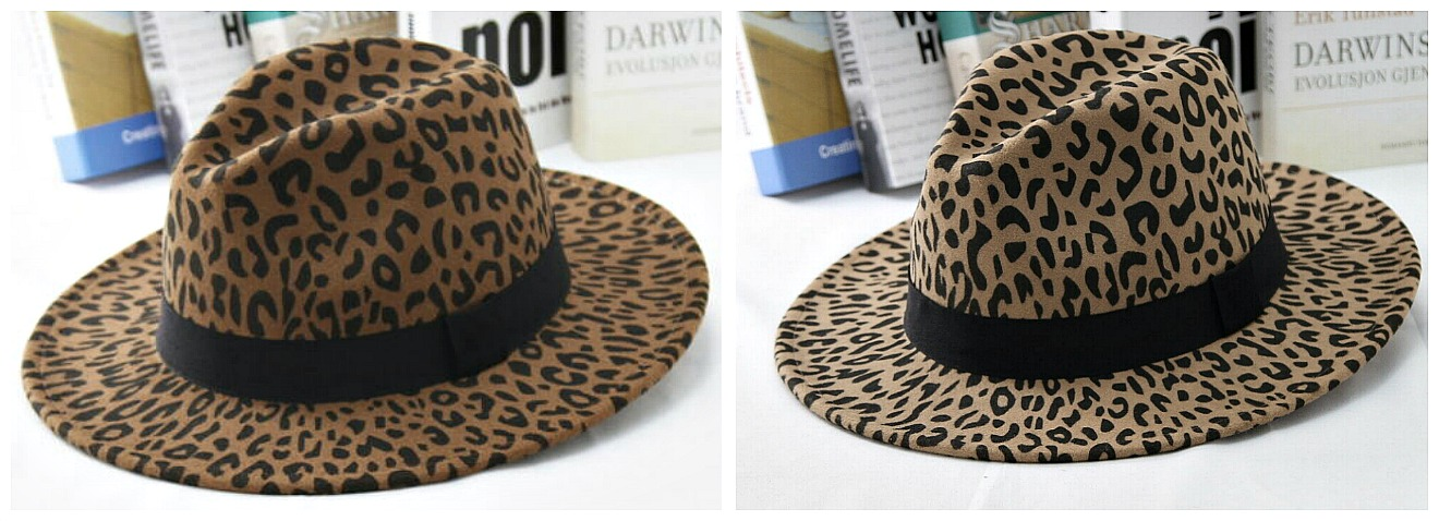BE WILD HAT Leopard Print Fedora Wide Brim Panama Trilby Wool Felt Hat with Band  2 COLORS