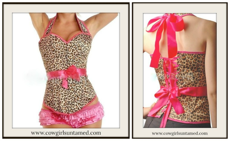9d6e52dc4b5 Brown n Black Leopard with Hot Pink Trim and Bow Satin Halter Style ...