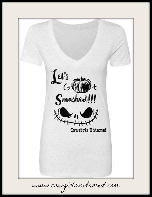 """COWGIRL ATTITUDE TOP """"Let'S Get Smashed"""" V-Neck Short Sleeve Long T-shirt"""