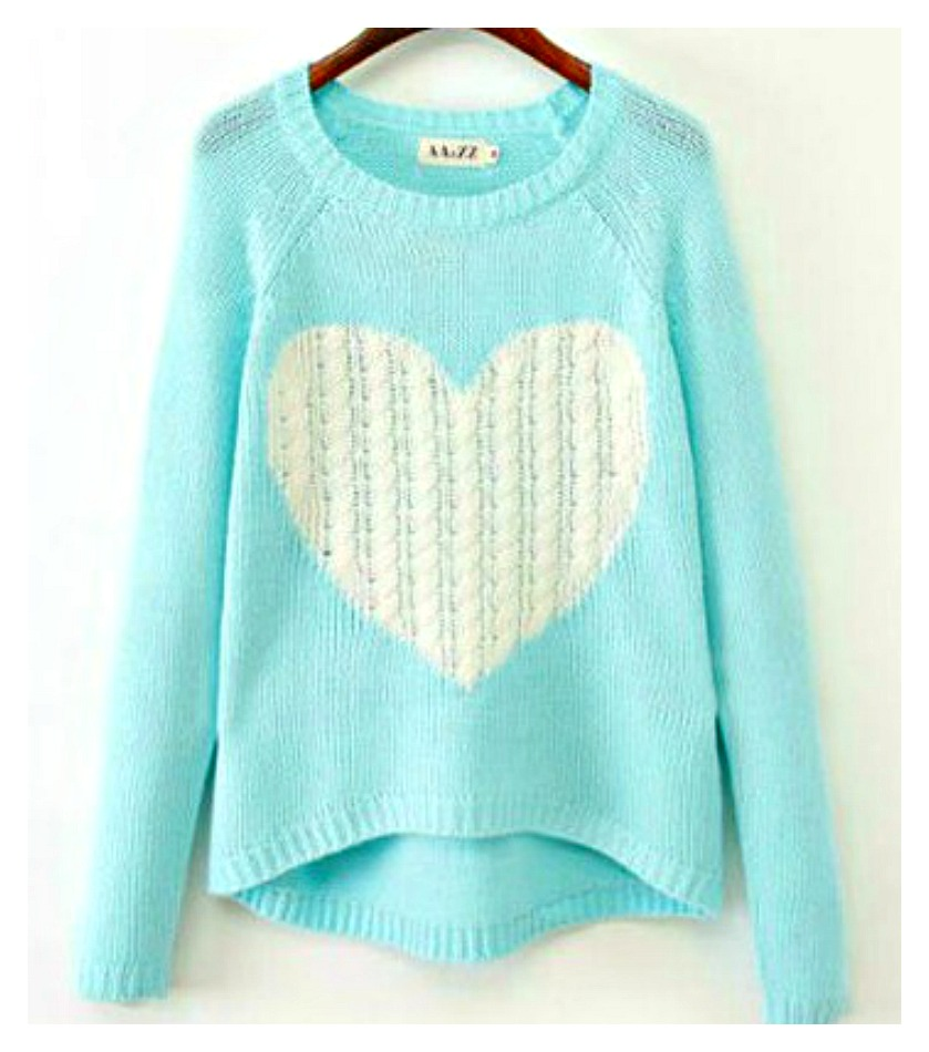 ONE HEART SWEATER White Heart on Light Aqua Blue Knit Slouchy Sweater