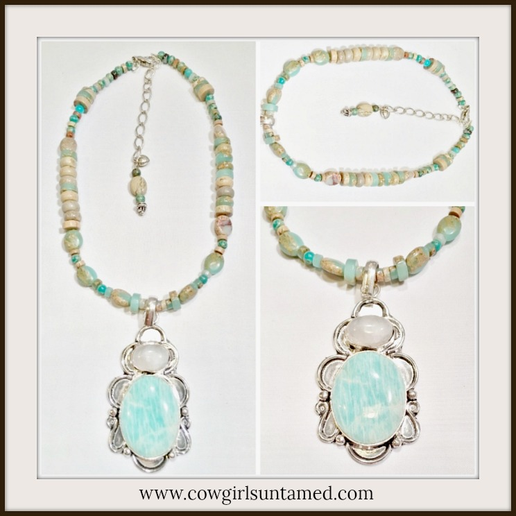 BOHEMIAN COWGIRL NECKLACE Amazonite & Moonstone SS Pendant Gemstone Beaded Necklace