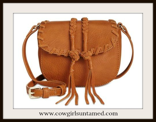 WILDFLOWER BAG Light Brown Whip-stitched Braided Leather with Tassels Shoulder Bag