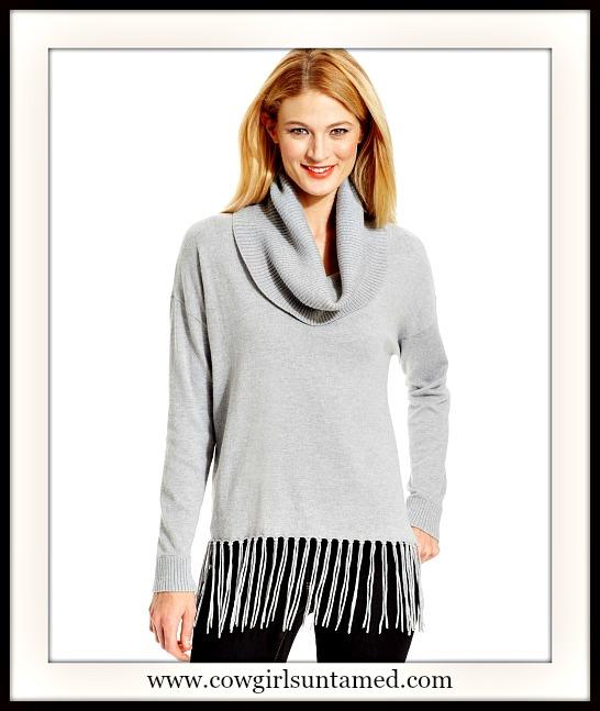 DESIGNER SWEATER Soft Light Grey Fringe Cowl Neck Designer Sweater