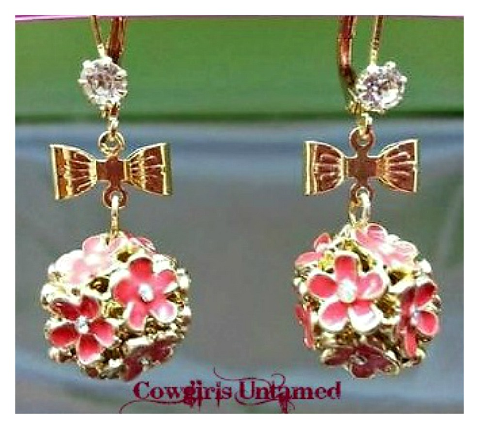 FLORAL BALL EARRINGS Pink Floral Gold Bow Rhinestone Earrings
