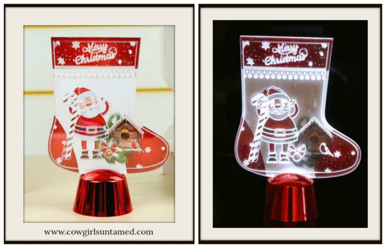 "COWGIRL CHRISTMAS DECOR ""Merry Christmas""Light Up Santa & Candy Cane Stocking Table Decor"