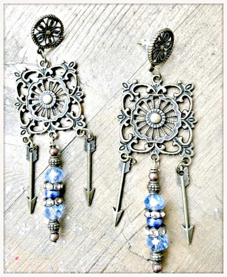 BOHEMIAN COWGIRL EARRINGS Light Blue Crystals Pearls Rhinestone Antique Bronze Arrow Chandelier Earrings