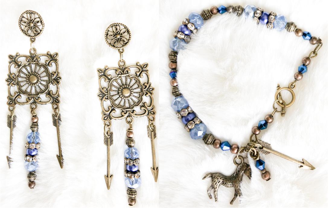 BOHEMIAN COWGIRL EARRINGS Light Blue Crystals Pearls Rhinestone Antique Bronze Arrow Chandelier Earrings w/ Bracelet option