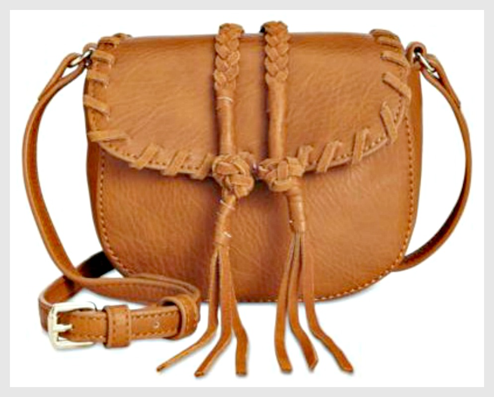 WILDFLOWER BAG Small Light Brown Whip-stitched Braided Leather with Tassels Crossbody Bag