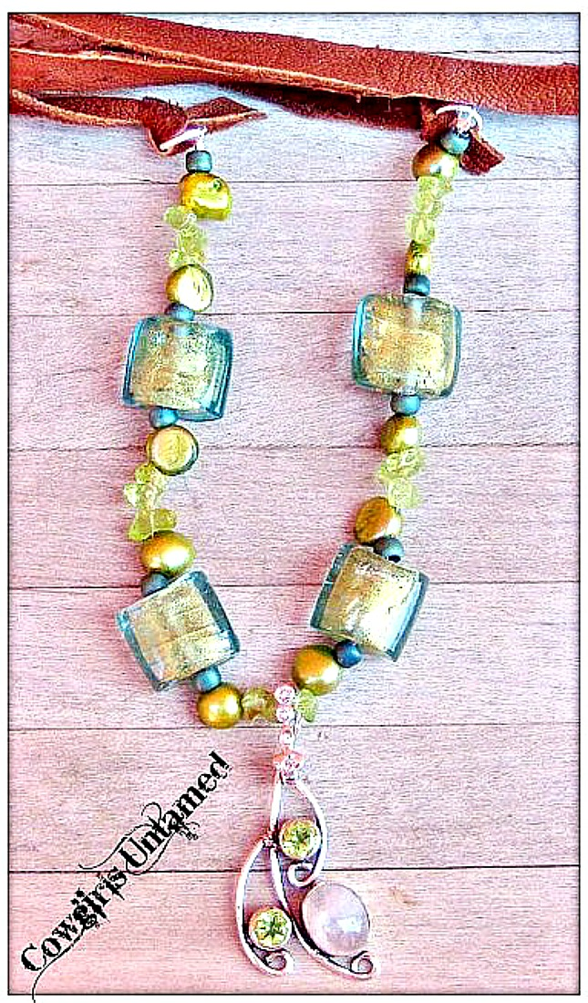 BOHEMIAN COWGIRL NECKLACE Lime Green Peridot & Rose Quartz 925SS  Pendant Long LEATHER Necklace