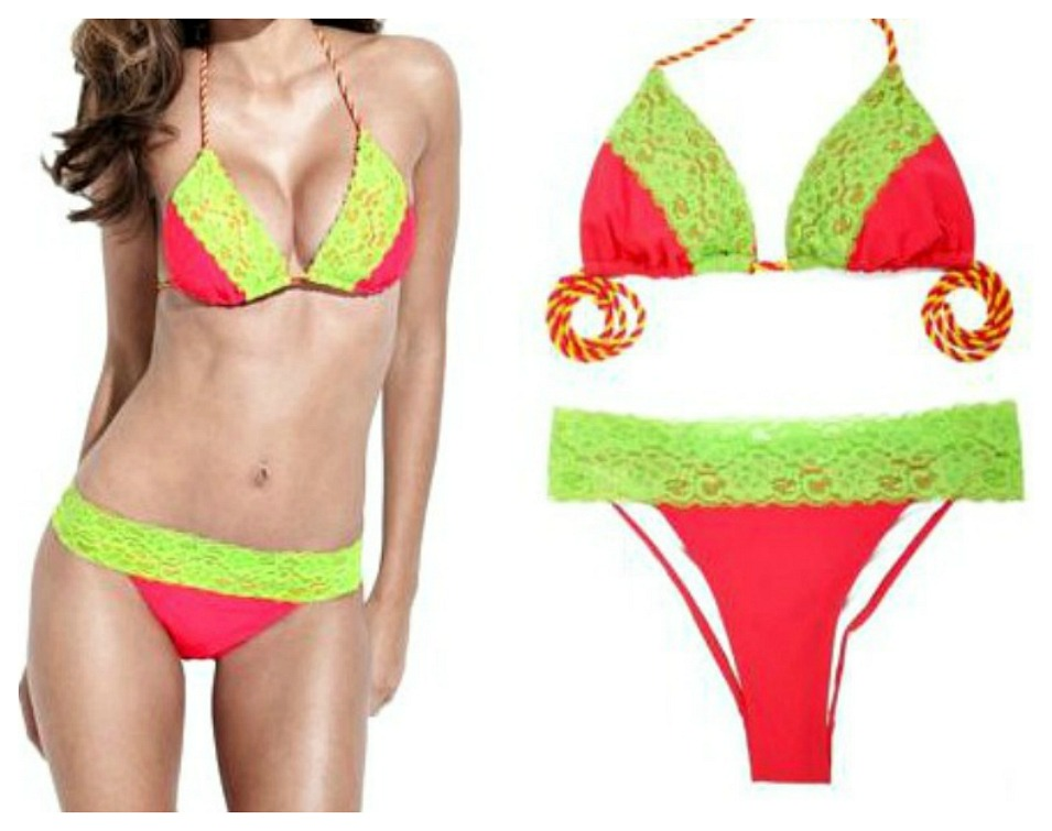 SEXY COWGIRL BIKINI Lime Lace Trim Brazilian Bottom DESIGNER Hot Pink Bikini Set