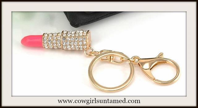 COWGIRL GLAM KEYCHAIN Beautiful Pink Rhinestone Lipstick Golden Key Chain