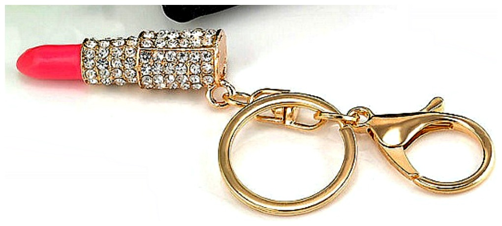 GOING GLAM KEYCHAIN Beautiful Pink Rhinestone Lipstick Golden Key Chain