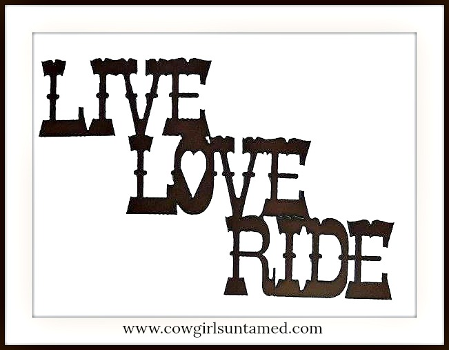 "COWGIRL STYLE DECOR Metal ""Live Love Ride"" Western Hanging Sign"