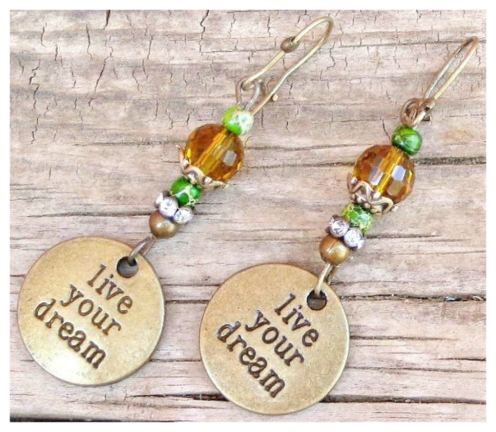 """LIVE YOUR DREAM EARRINGS """"Live Your Dream"""" Antique Bronze Charms Rhinestone Crystal Western Earrings"""