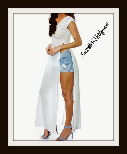 COWGIRLS ROCK TOP Short Sleeve Long Tunic Top with Slit