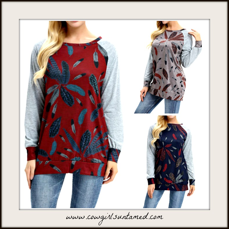 COWGIRL STYLE TOP Feather Print Long Sleeve Top  3 COLORS!